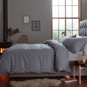 Silentnight Brushed Check Duvet Set - Smoke