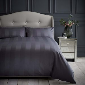 Silentnight Wide Sateen Stripe Duvet Set - Charcoal