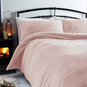 Silentnight Cosy Teddy Fleece Duvet Set - Blush