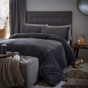 Silentnight Waffle Fleece Duvet Set - Charcoal