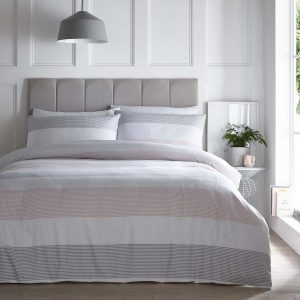 Silentnight Seersucker Stripe Duvet Set - Blush